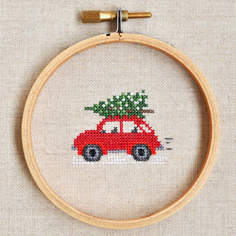 Photo of Christmas Car Cross Stitch Pattern. Red Car with Tree Cross Stitch. Christmas Cross Stitch Pattern. Christmas Car with Tree Cross Stitch PDF