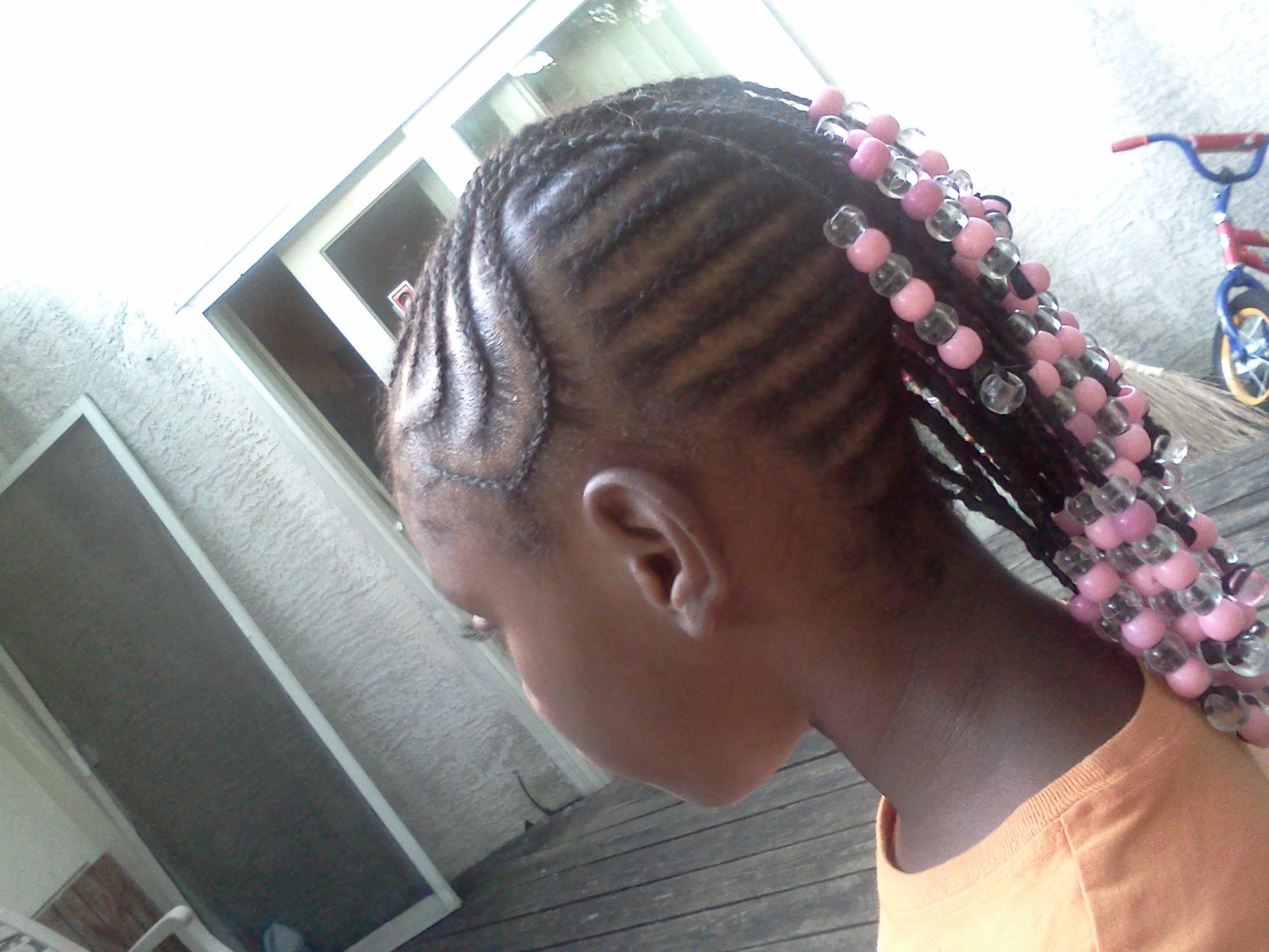 Braided Hair Styles For Little Girls: Little Girls Braided Mohawk With Beads.