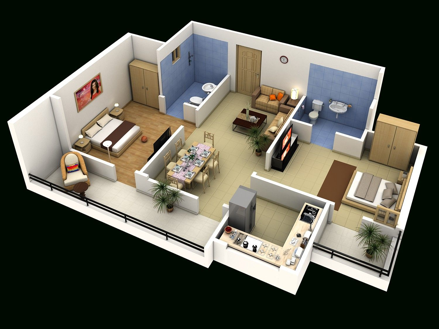 4 Bedroom Luxury Apartment Floor 3D Plan 2 House Plans And ...