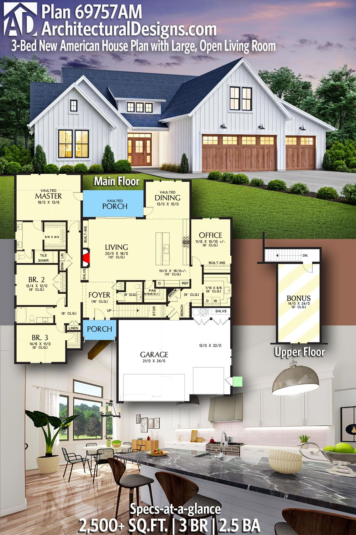 Plan 69757am 3 Bed New American House Plan With Large Open Living Room In 2020 American Houses House Plans New House Plans