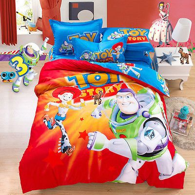 Disney Toy Story Woody Buzz Lightyear 4pc Toddler Bed Set Kid Gift