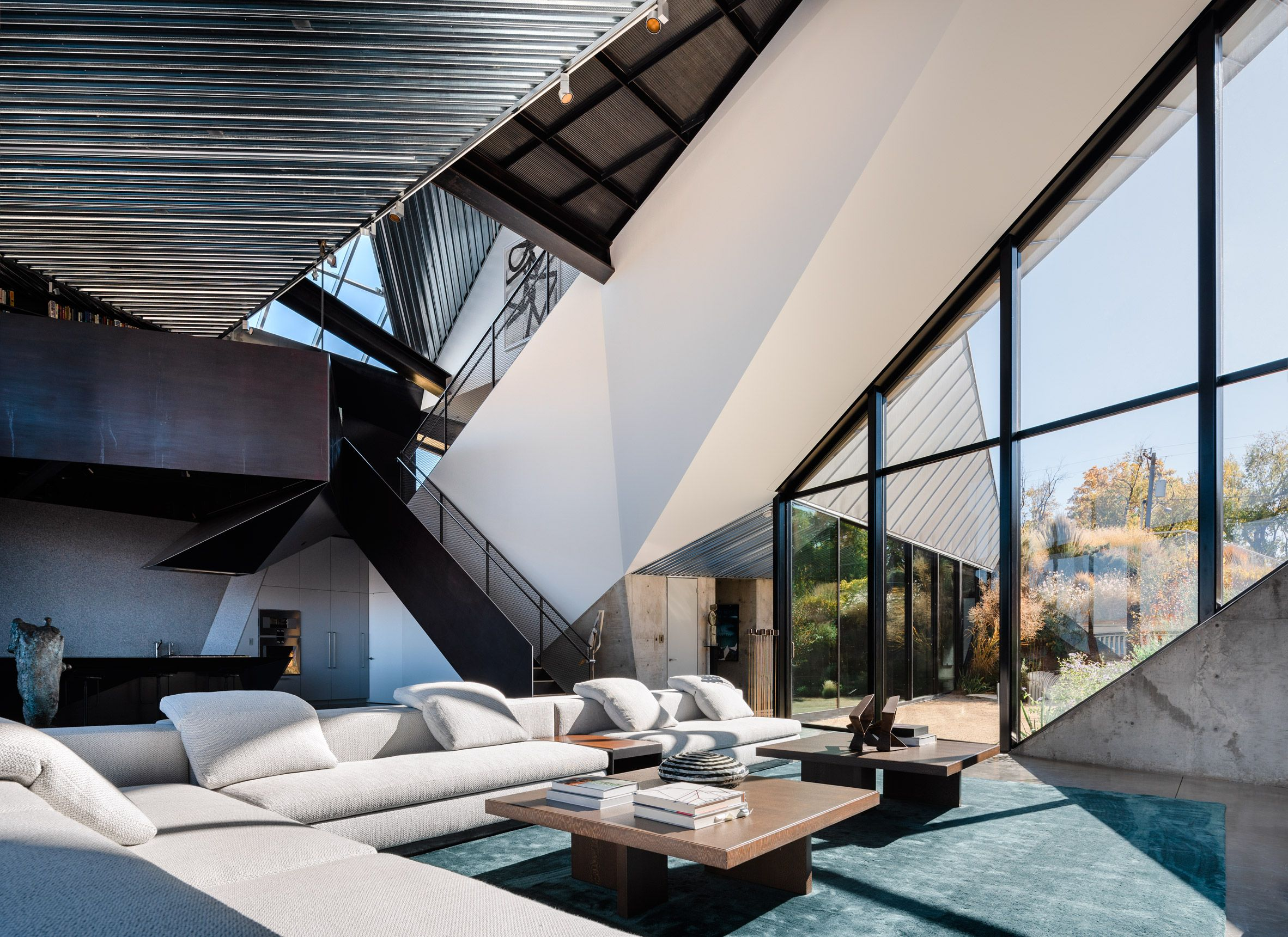 The house was designed with a highly contemporary and ...