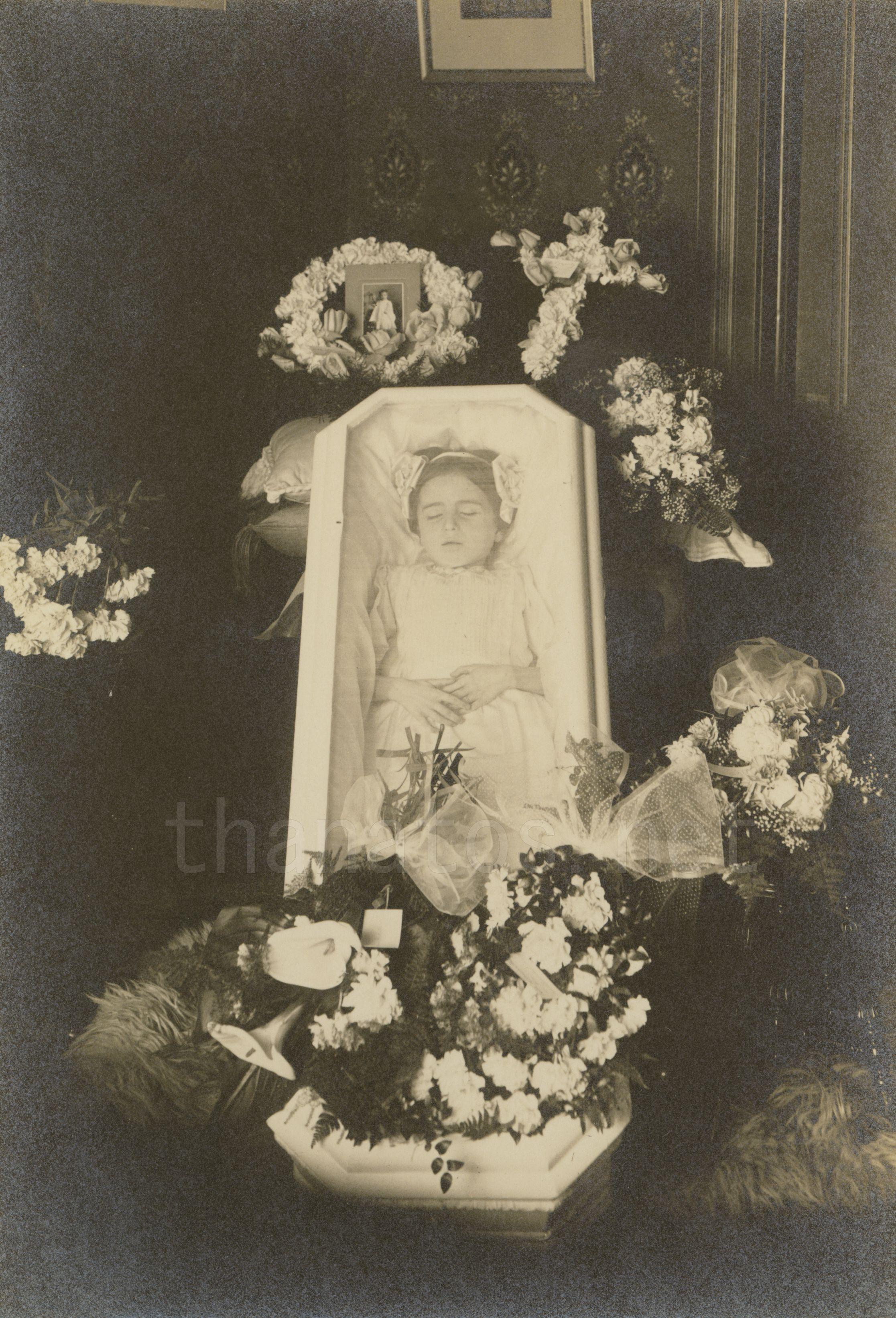 Young girl in casket