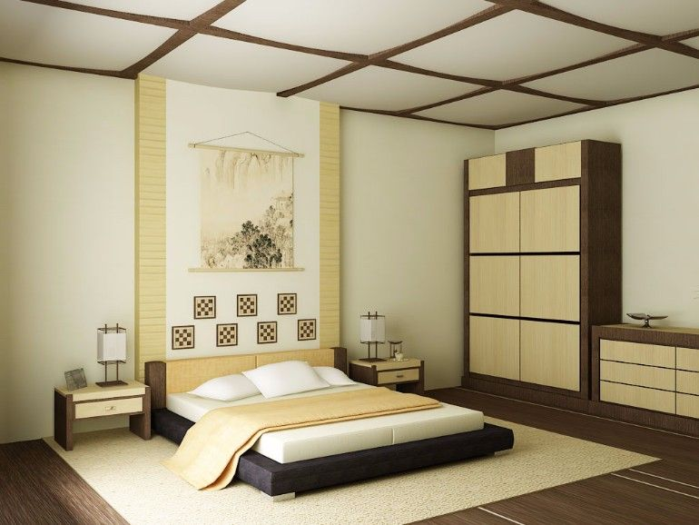 Harmonious Creamy Japanese Bedroom Design Japanese Bedroom