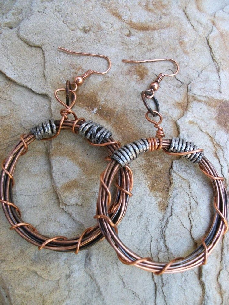 Recycled Copper and Aluminum Wire Earrings   Wire earrings, Earrings ...