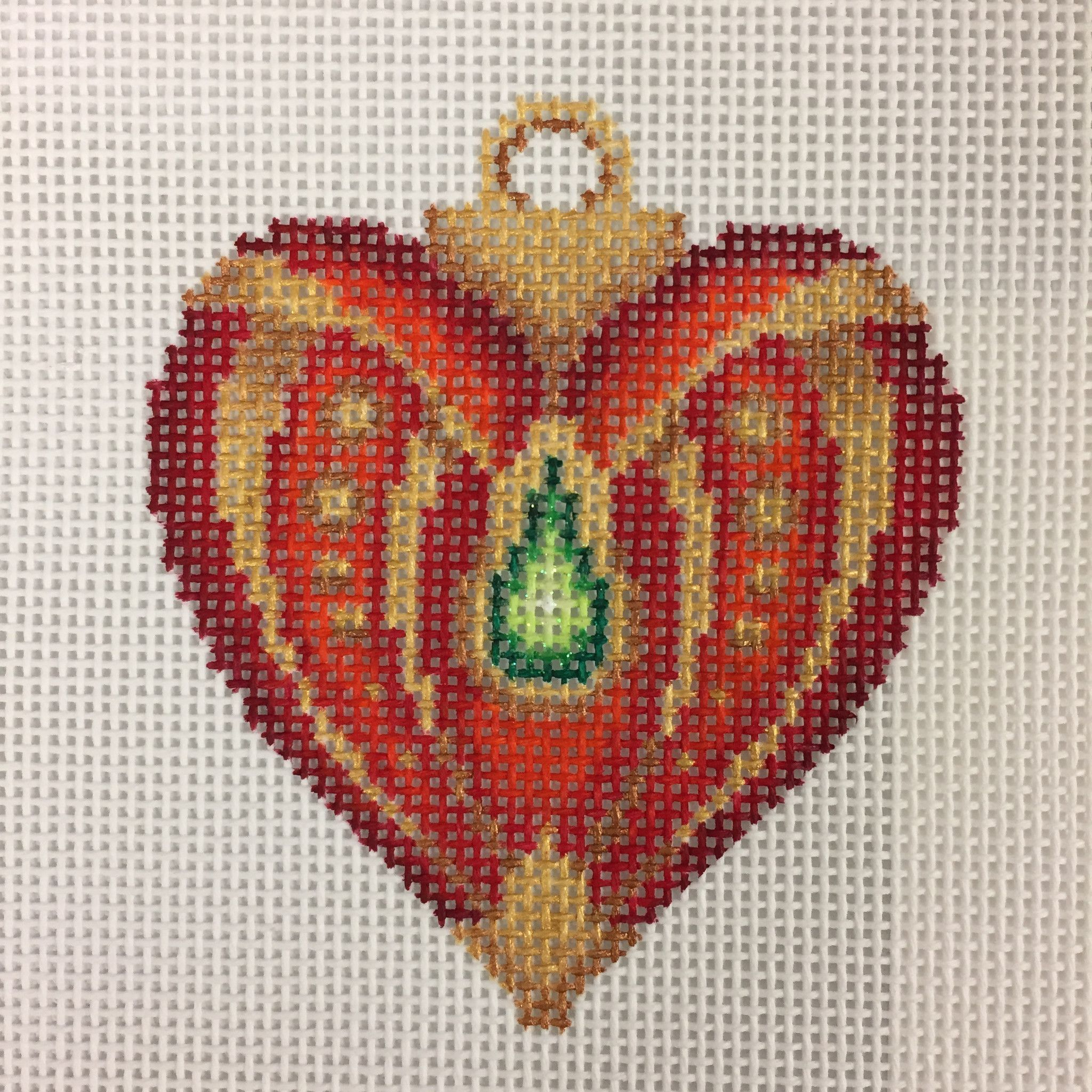 Red Heart Shaped Old World Ornament