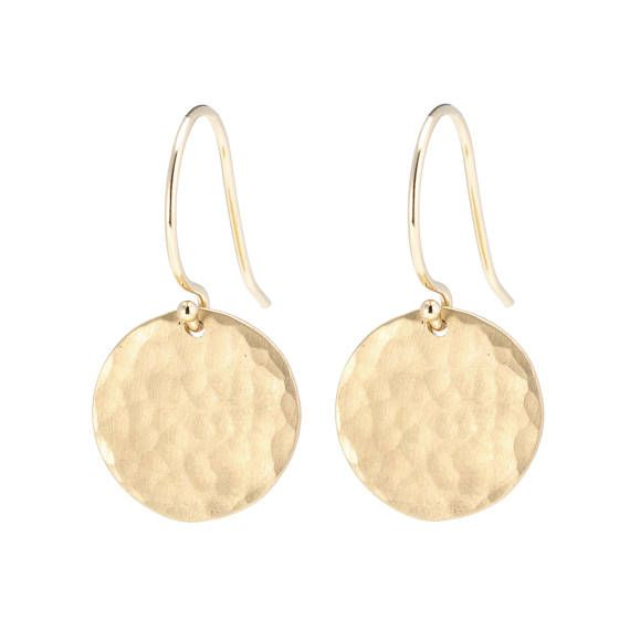 Hammered Disc Earrings Solid 14k Gold