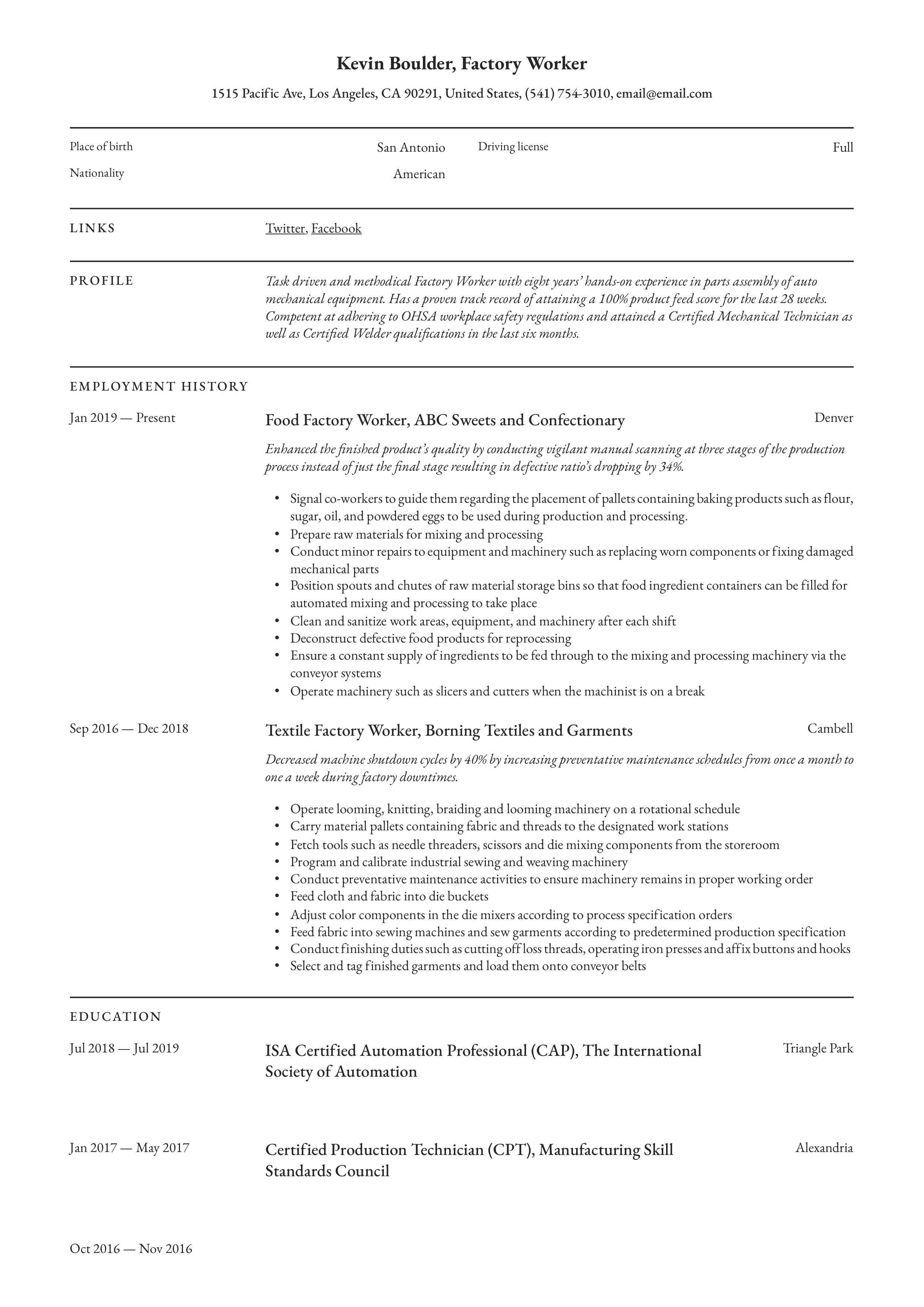Resume Examples For Production Worker Louiesportsmouth Com Resume Examples Professional Resume Examples Civil Engineer Resume