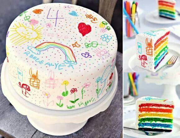 Pastel Decorado Con Dibujos De Ninos Hechos Con Rotuladores Comestibles Pasteles Pintados A Mano Pasteles Pintados Tartas Para Ninos