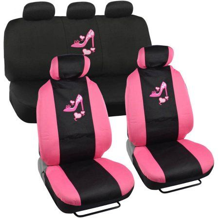 BDK Pink Love Heel Design Seat Covers for Car, SUV, Van and Truck, 9pc - Walmart.com