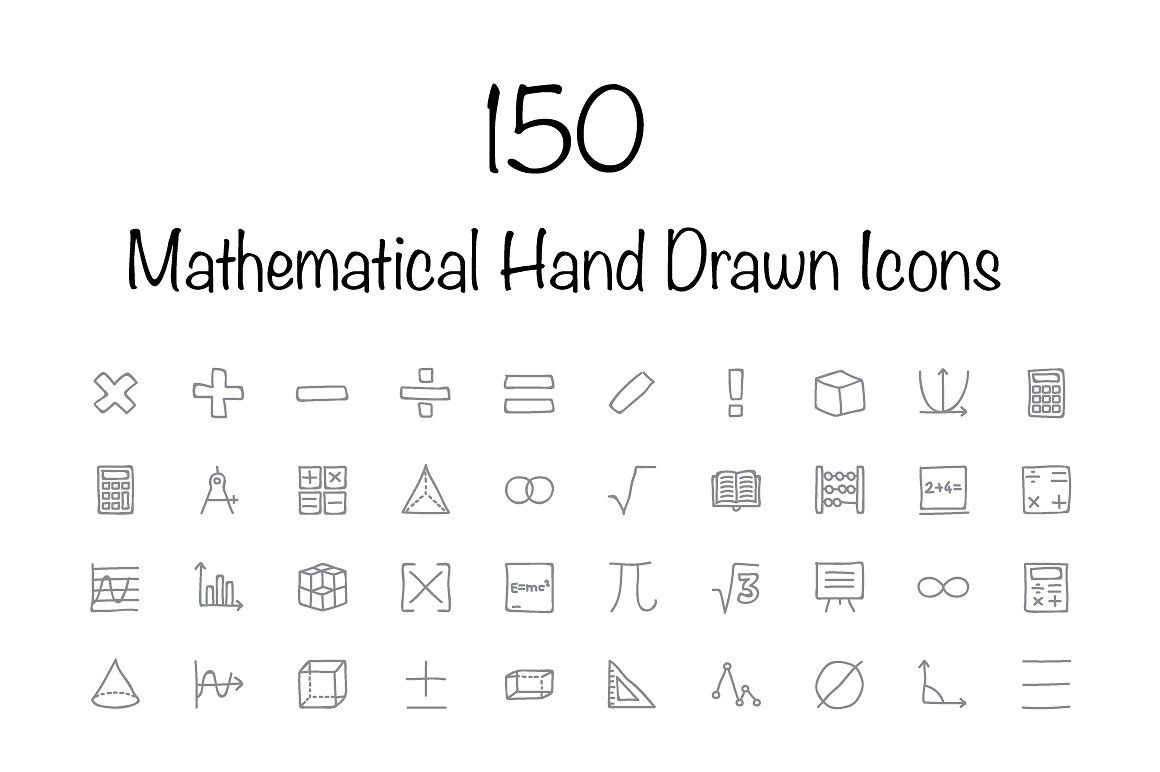150 Mathematical Hand Drawn Icons How to draw hands