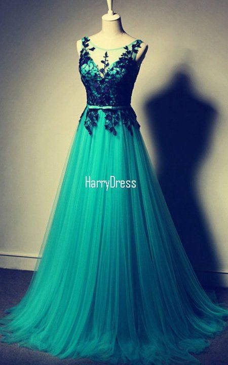 Green A Line Scoop Neck Tulle Floor Length Lace Long Prom Dress | Green  With Envy | Pinterest | Long prom dresses, Scoop neck and Prom