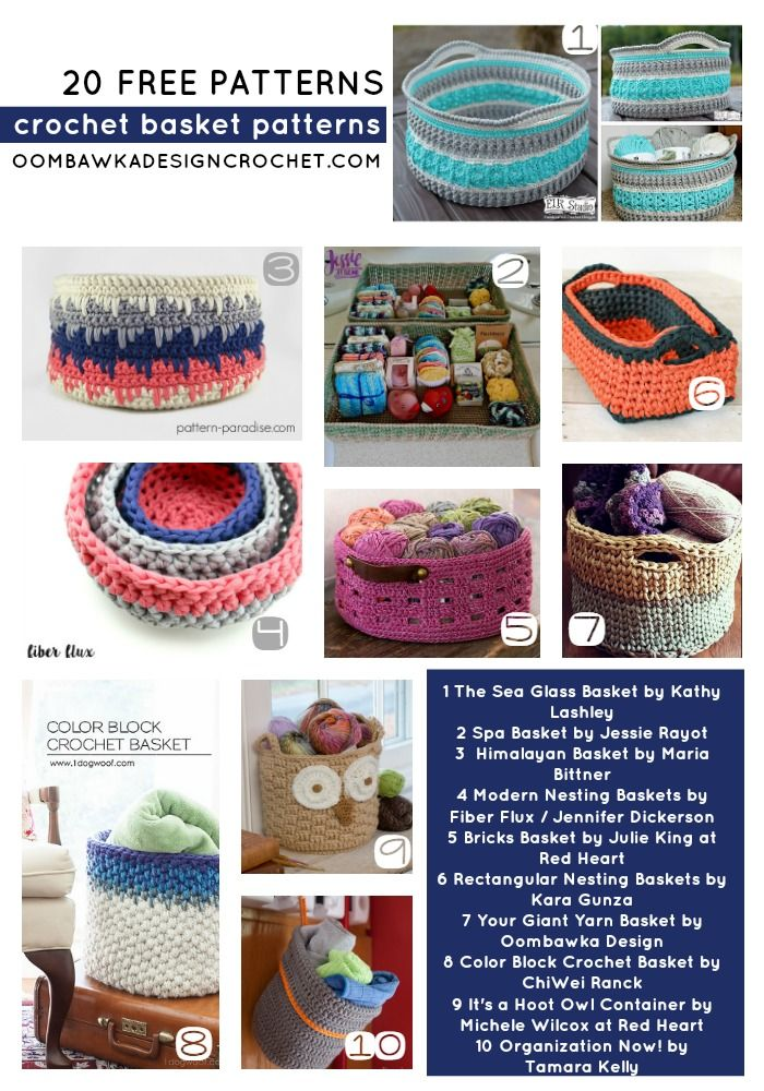 20 Free Patterns for Crochet Baskets | Selber machen