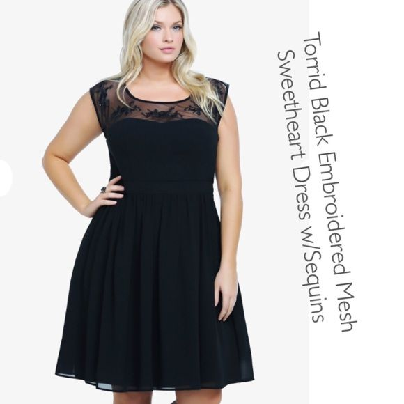 ba6de08953 Torrid Black Embroidered Mesh Sweetheart Dress 18 This dress is so  beautiful and elegant - I