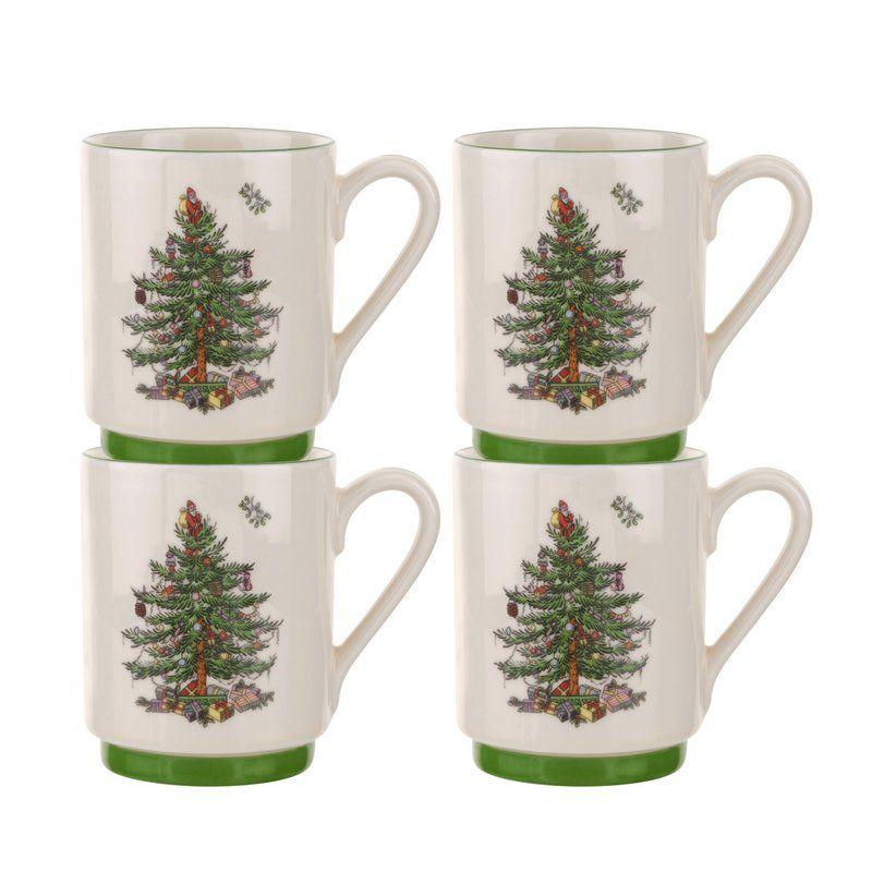 Christmas Tree Stacking Coffee Mug Christmas Tree Set Spode Christmas Spode Christmas Tree