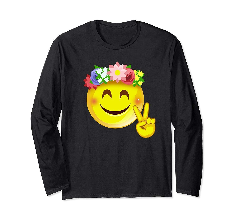 Hippie Flower Power Crown Smiley Peace Sign Emoji Smiley Long Sleeve T Shirt Cro Crown Emoji Flower Hippie In 2020 Peace Sign Emoji Hippie Flowers Flower Power