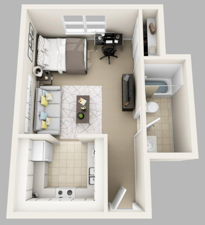 1 Bedroom Efficiency Apartments: 56 Cool One Bedroom Apartment Plans Ideas