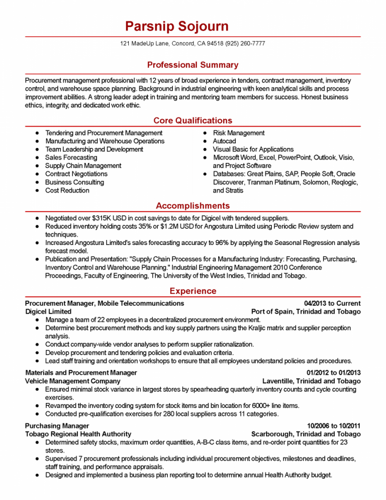 Procurement Manager Resume Manager Resume Contract Template Procurement Management