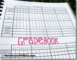 Homeschool Grade Book Printable  Organization