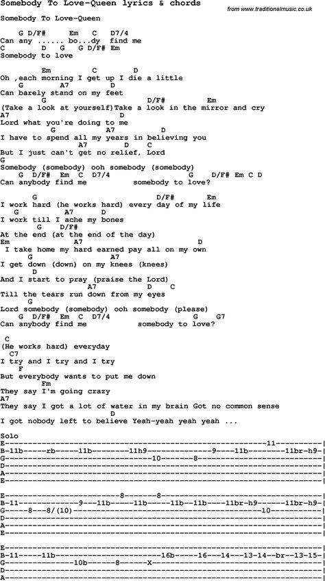 Love Song Lyrics for: Somebody To Love-Queen with chords for Ukulele ...