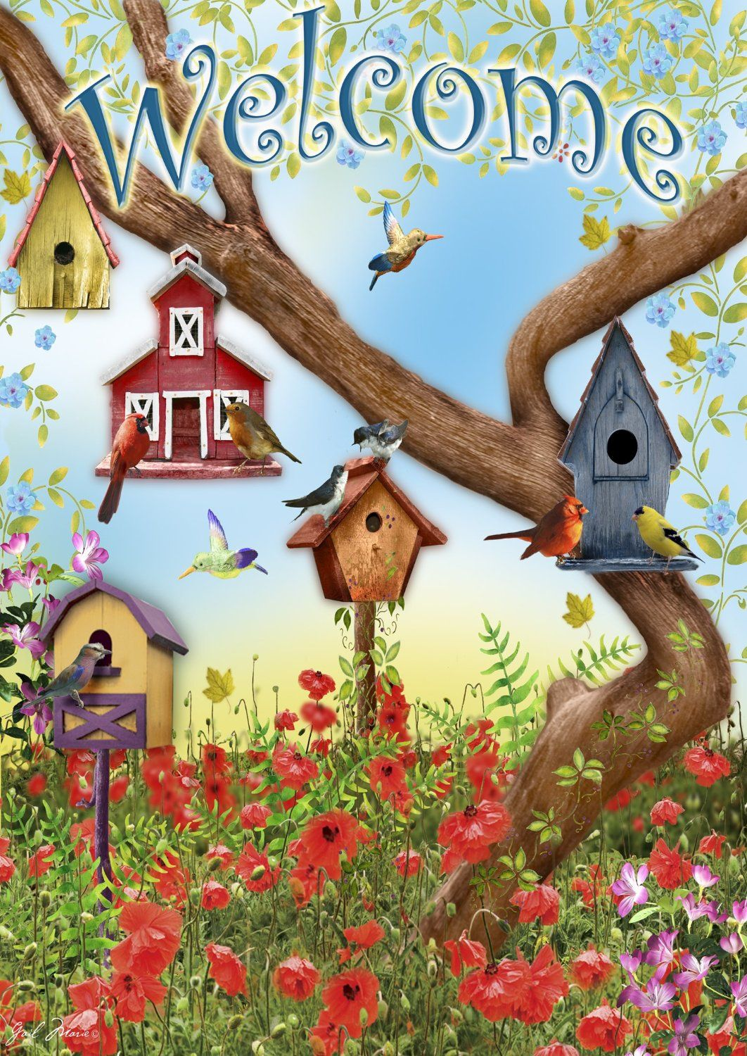 Toland Home Garden Poppies And Birdhouses