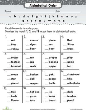 math worksheet : words alphabetical order  google search  language ideas  : Abc Order Worksheets Kindergarten