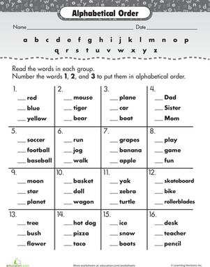 26+ Free printable alphabetize spelling worksheets Images