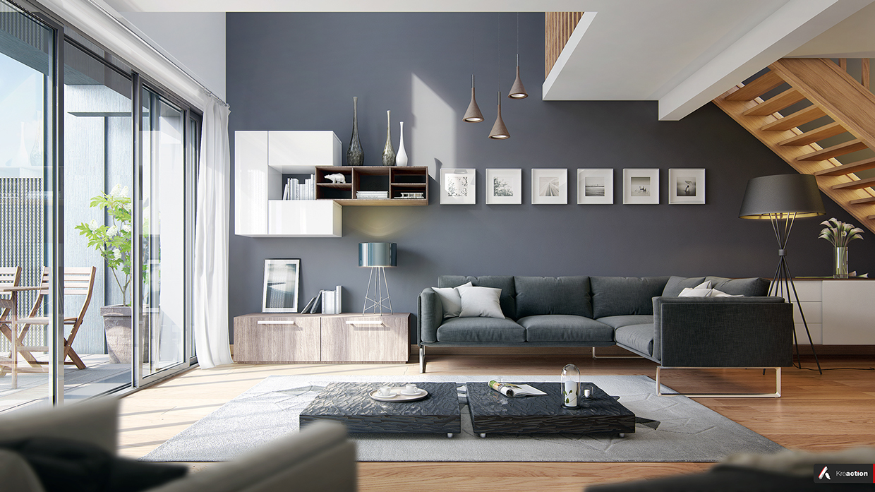 modern interior design slate gray walls and a deep blue sofa give this living room a bit of a stormy feel - Slate Blue Living Room Ideas