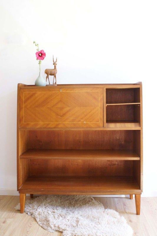 Houten vintage kast bureau retro jaren 50 60 dressoir for Jaren 50 60 meubels