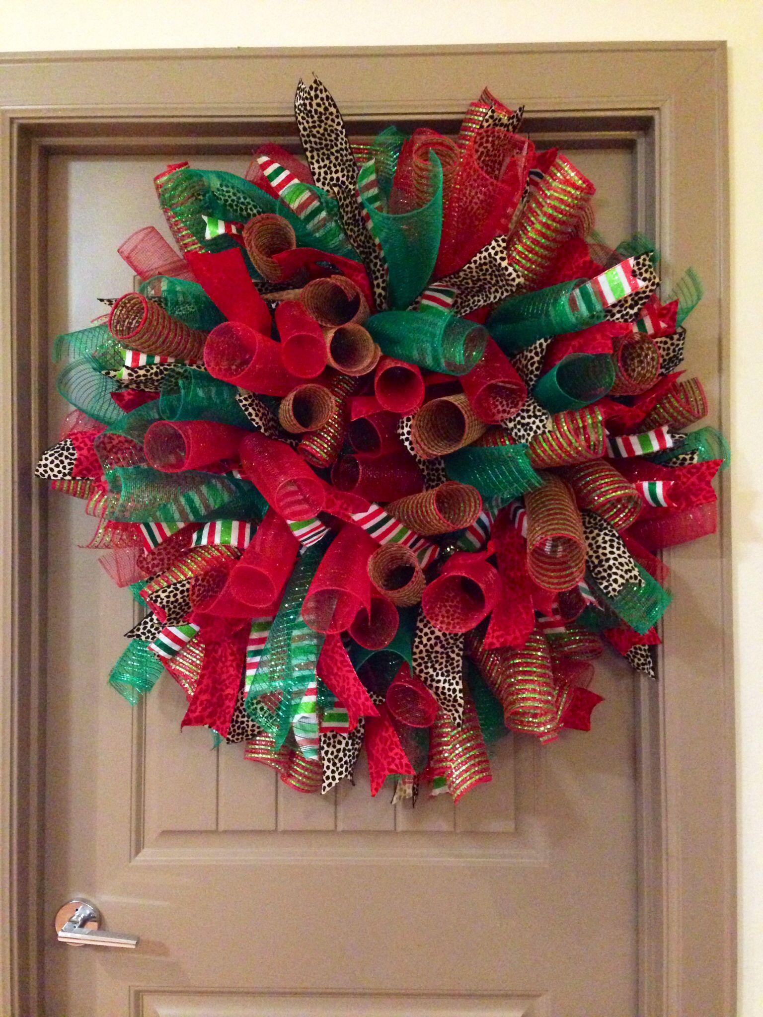 Curly deco mesh Christmas wreath Christmas mesh wreaths