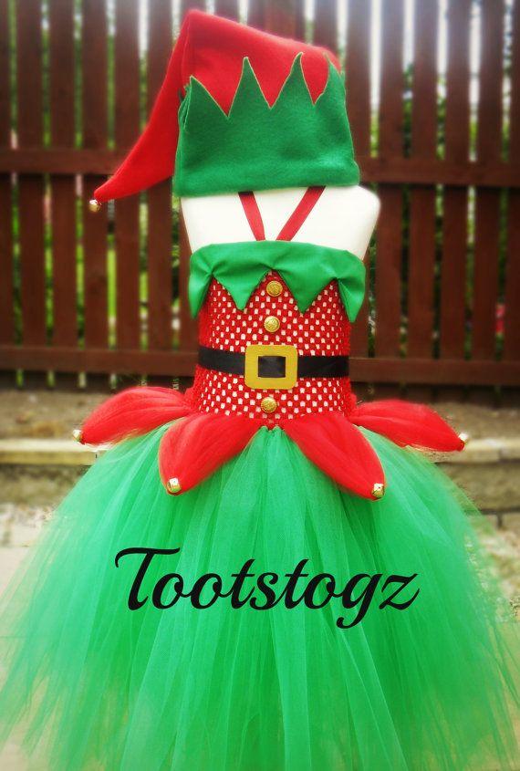 Childrens Christmas Elf Tutu dress costume red & green - Childrens Christmas Elf Tutu Dress Costume Red & Green My Girls