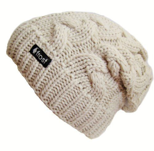Amazon.com  Frost Hats Winter Hat for Women BEIGE Slouchy Beanie Cable Hat  Knitted Winter Hat Frost Hats One Size Beige  Clothing 4a827ad486e