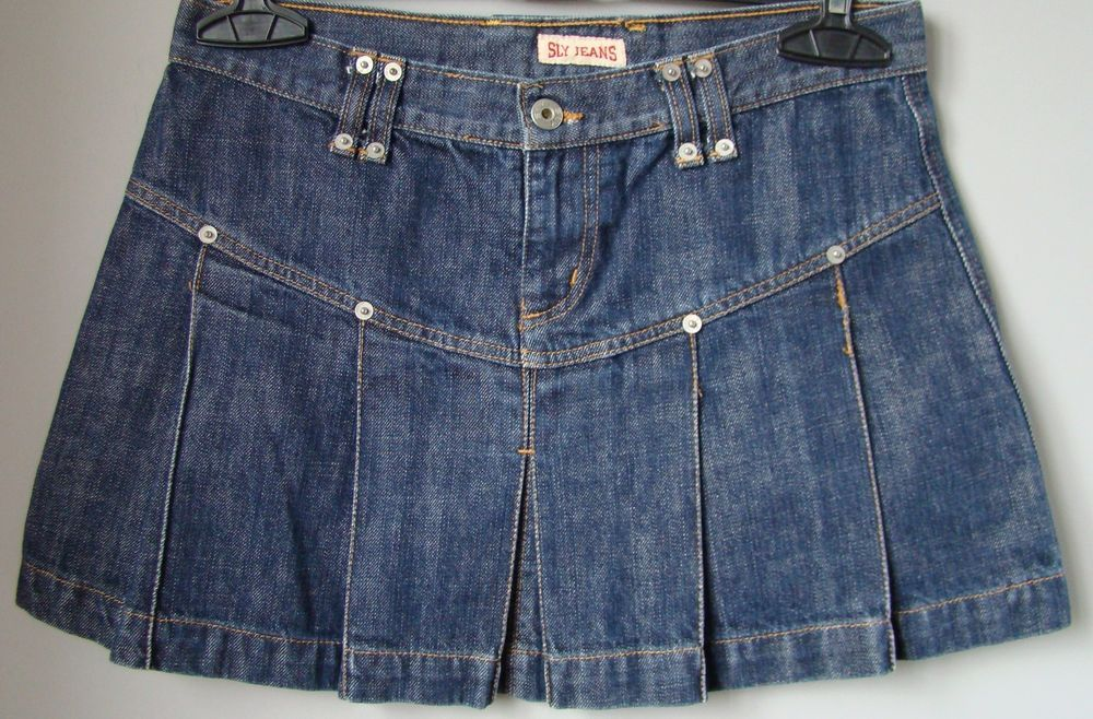 727e3f1fca Minigonna in jeans denim blu scuro pieghe 44 jupe rock skirt gonna w ...