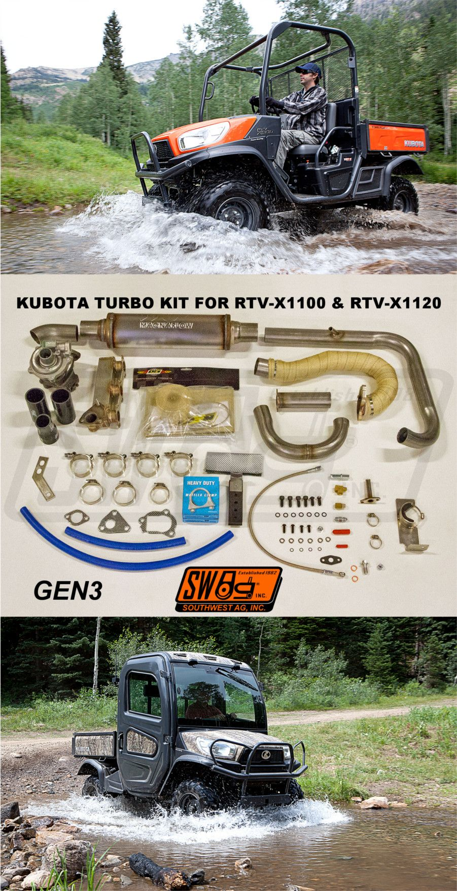 3rd Generation Turbo Kit for the Kubota RTV-X series utility vehicle.