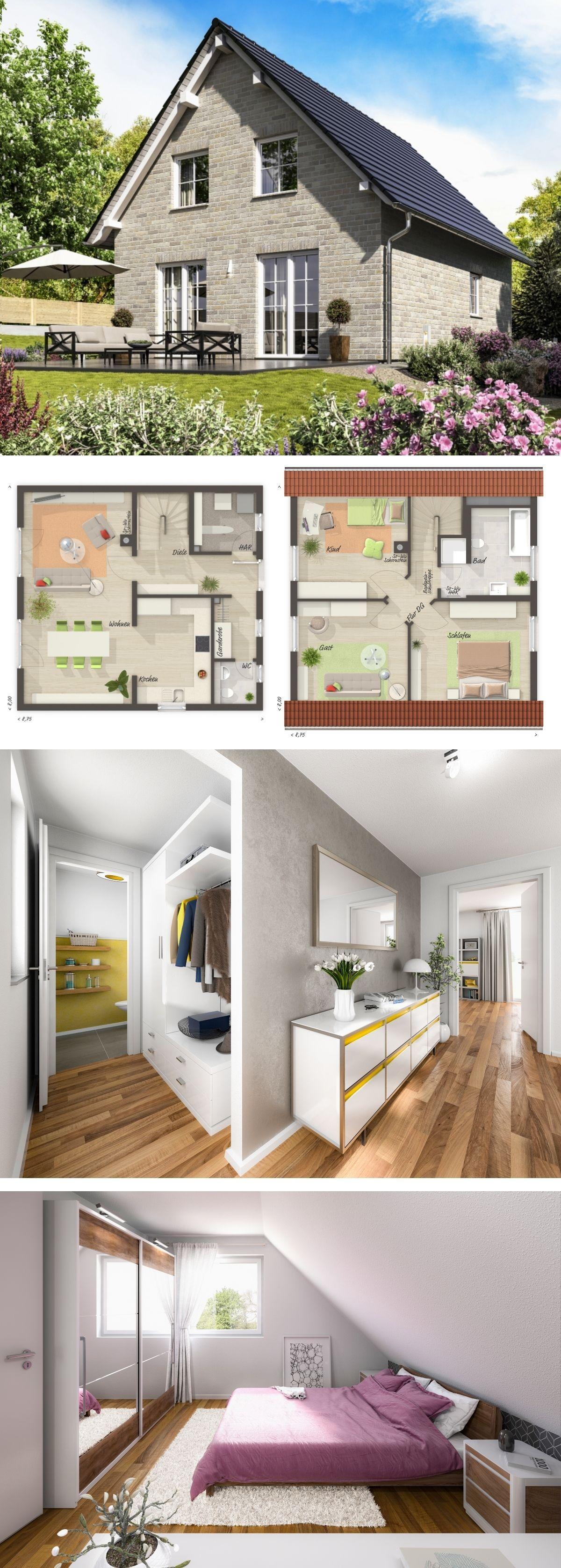 Einfamilienhaus Neubau Modern Im Landhausstil Mit Satteldach Architektur U0026  Klinker Fassade Grau   Schlüsselfertiges Massivhaus Bauen