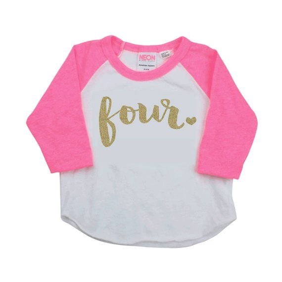 4 Year Old Birthday Shirt Girl Four Years Outfit Raglan Toddler 4th Shir