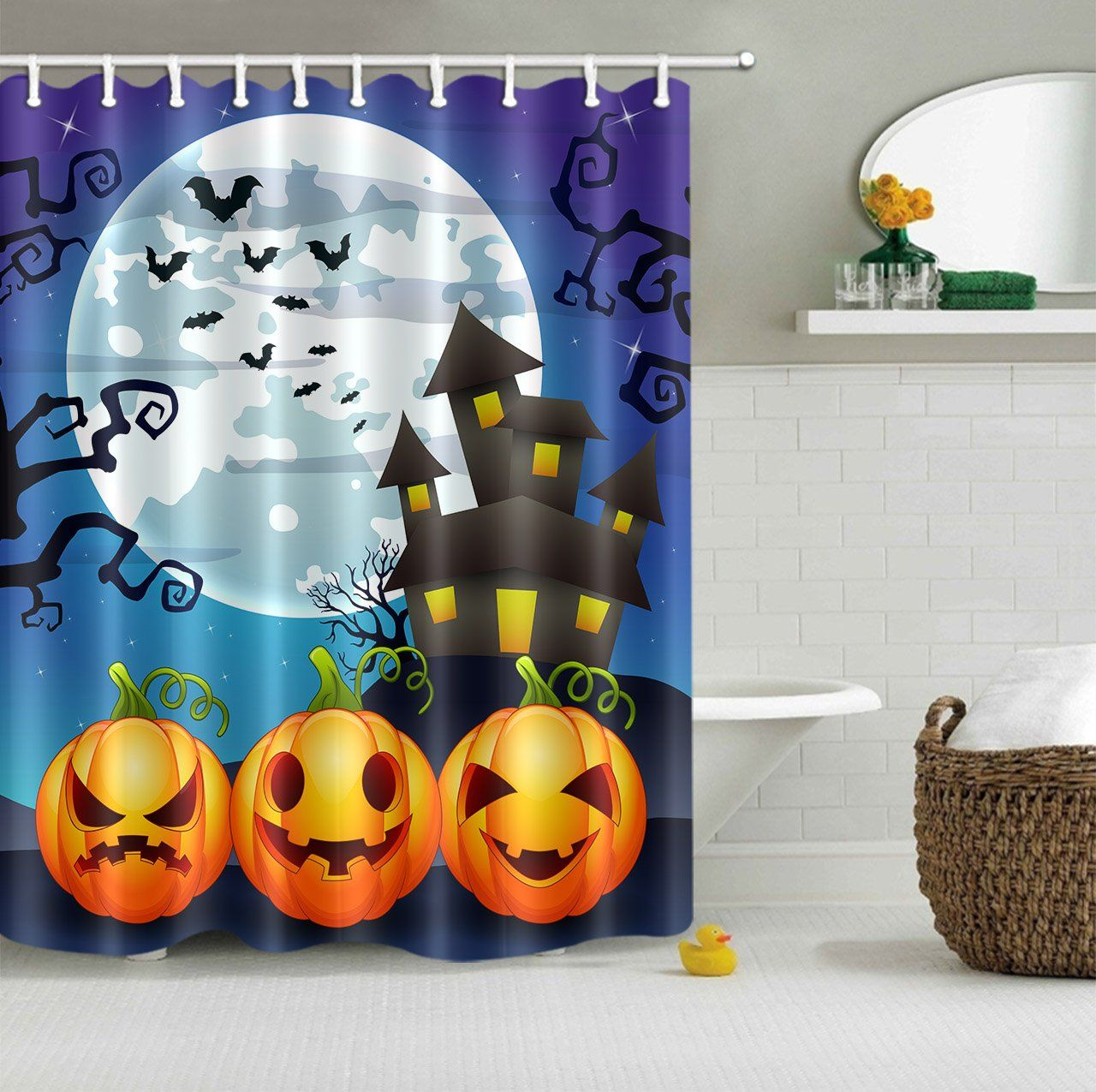 Lb Pumpkin Haunted Castle Moon Night Evil Tree Shower Curtains For