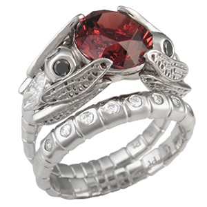 Dragonfly Engagement Ring and Wedding Band with Celestial Compass Cut Garnet - Fly, fly, dragonfly! These two beauties together hold a stone with their wingtips. Body can be any gemstone; what's your preference?     - This artistic bridal set has a designer cut garnet and black diamonds for the dragonflies' eyes.