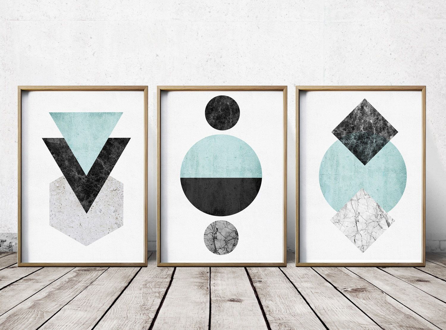 Geometric Design Wall Art : Gallery wall print set art prints abstract