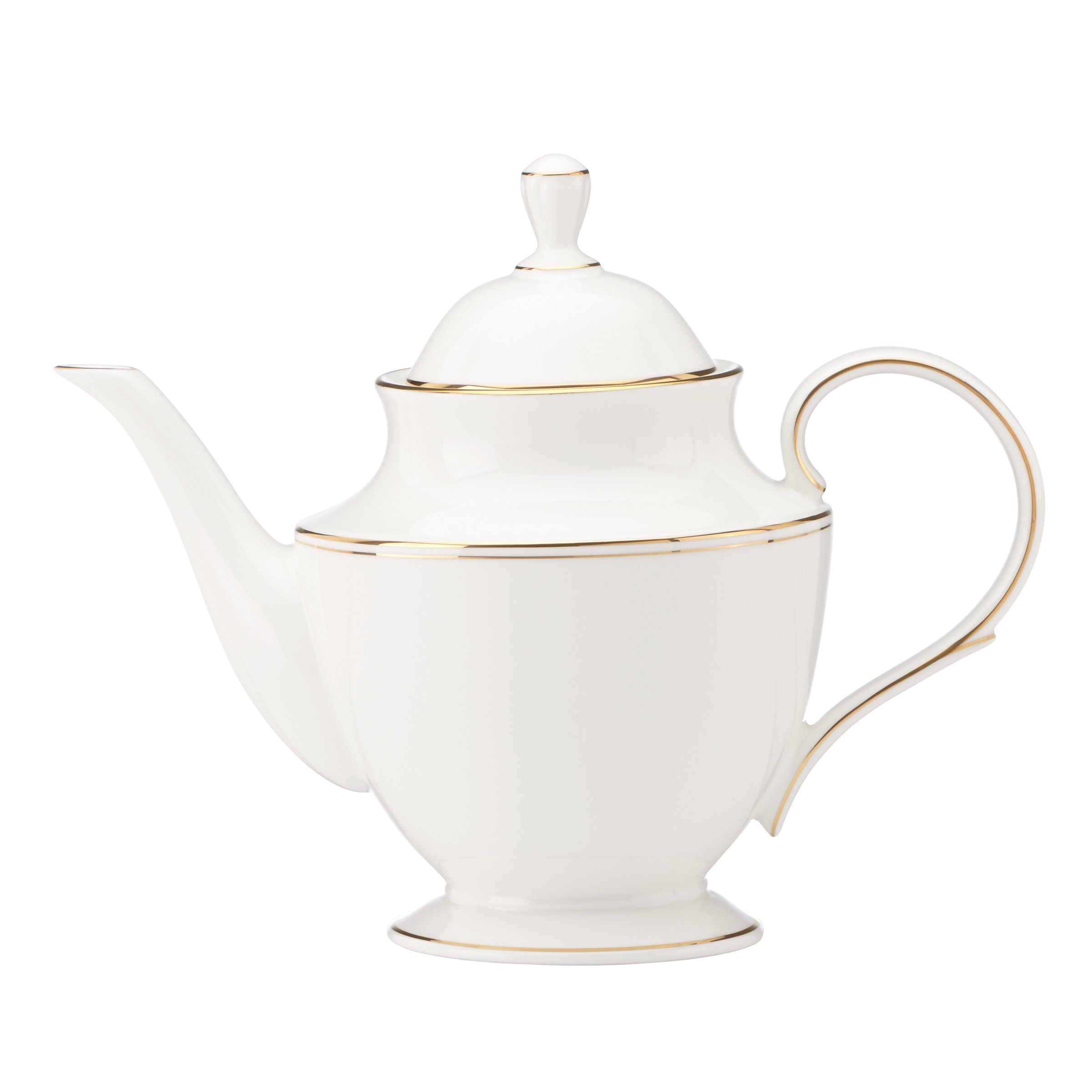 Enjoy your drink when you use this Lenox Federal Gold Teapot. Crafted of Lenox bone china accented with 24 karat gold, this tea pot has a 40-ounce capacity. The design in white and gold creates a deli