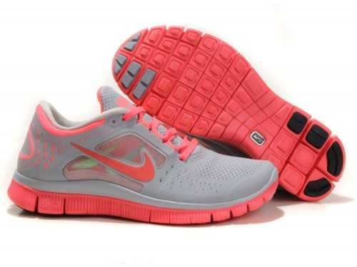 UK Sale Womens Nike Free Run 3 Wolf Grey/Hot Pink/Coral Red [B89m]