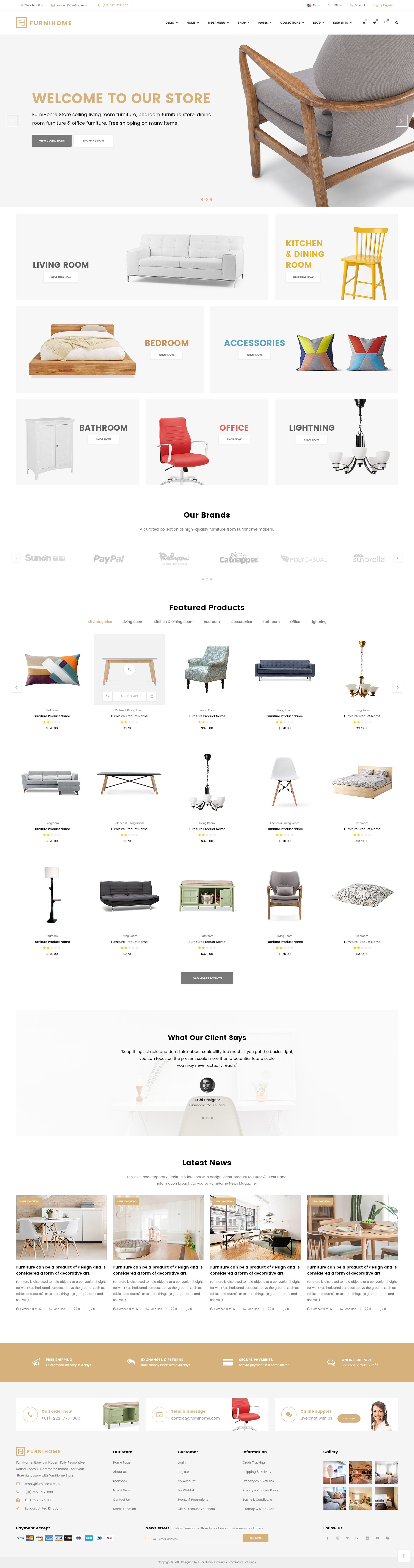 Furnihome E Commerce Psd Template For Furniture Store Pinterest