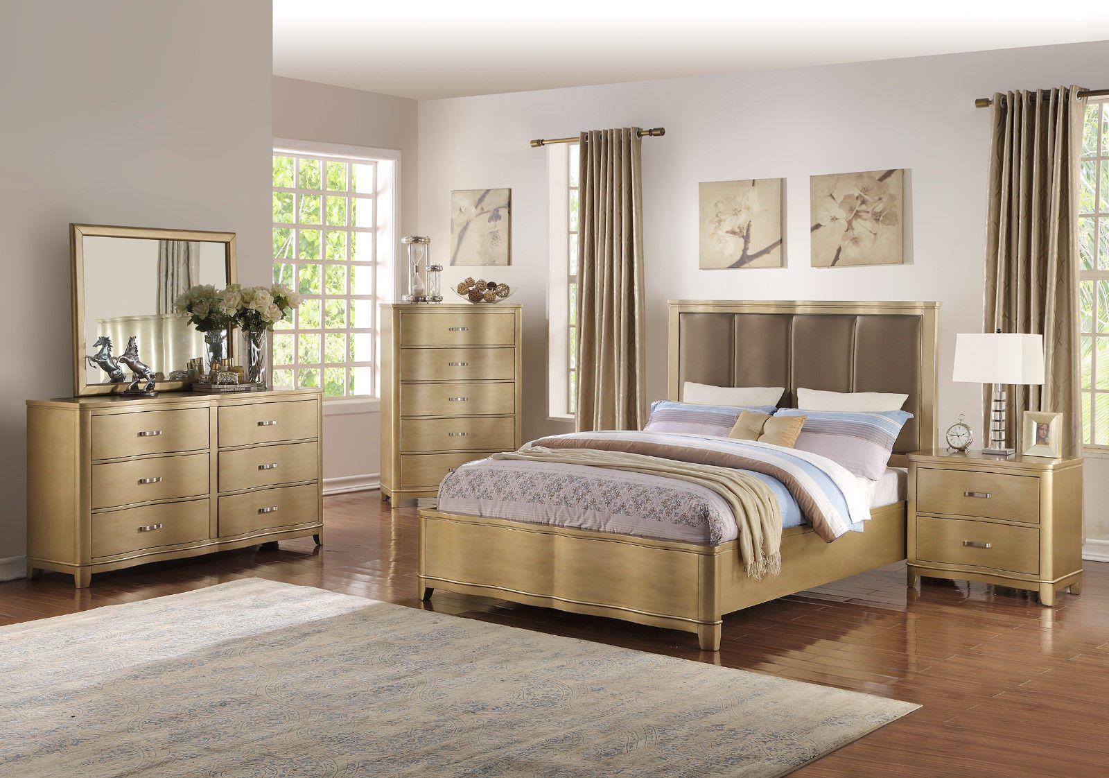 Unique Modern Light Wood 4pc Bedroom Set Est King Bed