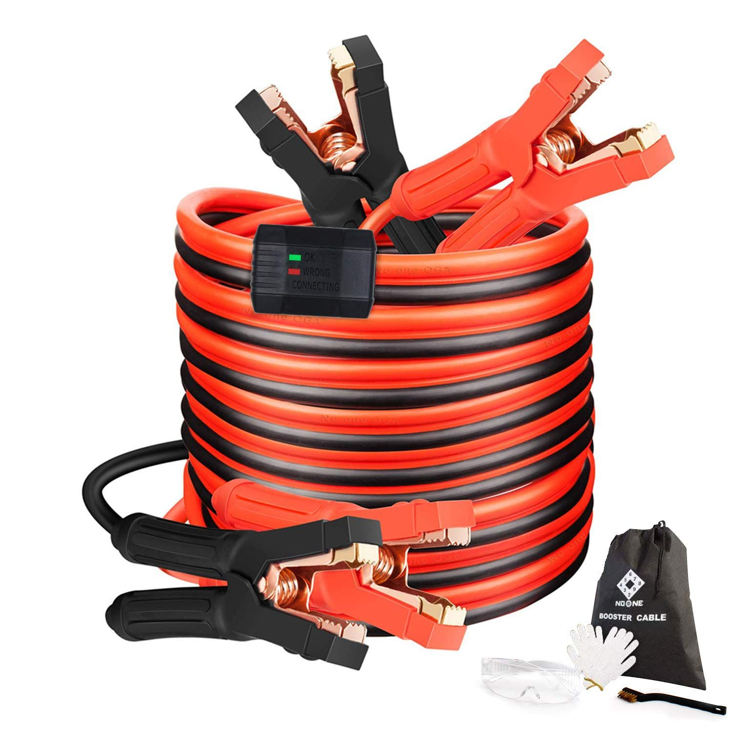 Jumper Cables Heavy Duty Booster Cables 0 Gauge 25feet 0awg X 25ft 1000amp With Goggles Gloves Cleaning Brush In C In 2020 Brush Cleaner Automotive Repair Heavy Duty