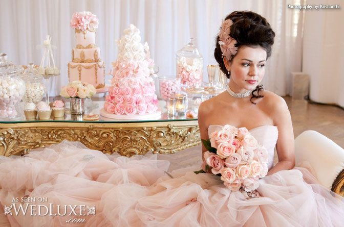 WedLuxe: This styled shoot inspired by Marie Antoinette is filled with pretty pink #wedding ideas (photo by: Krishanthi, #cakes and sweet table by: Elizabeth's Cake Emporium)