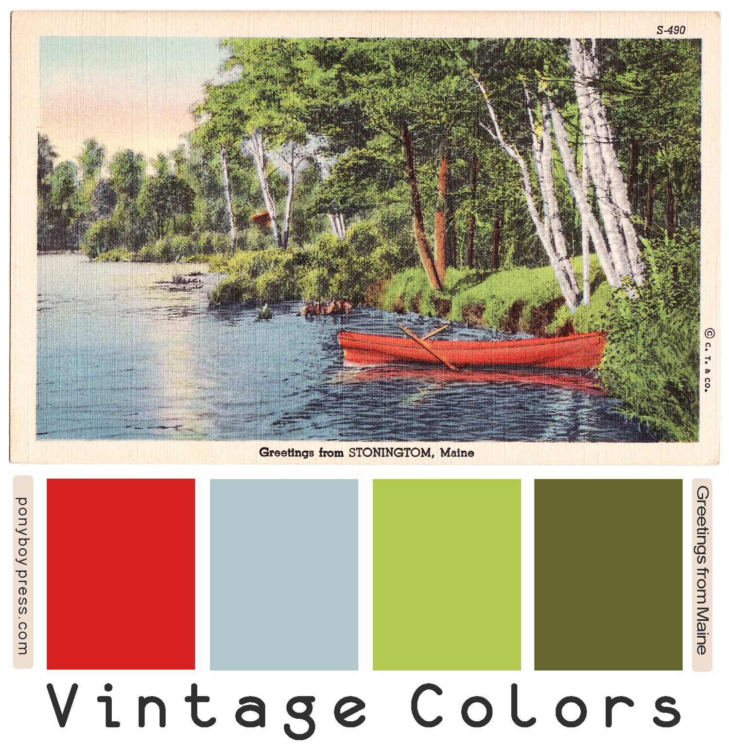 Vintage Color Palettes - Greetings from Maine. Go to the blog for the hex code numbers