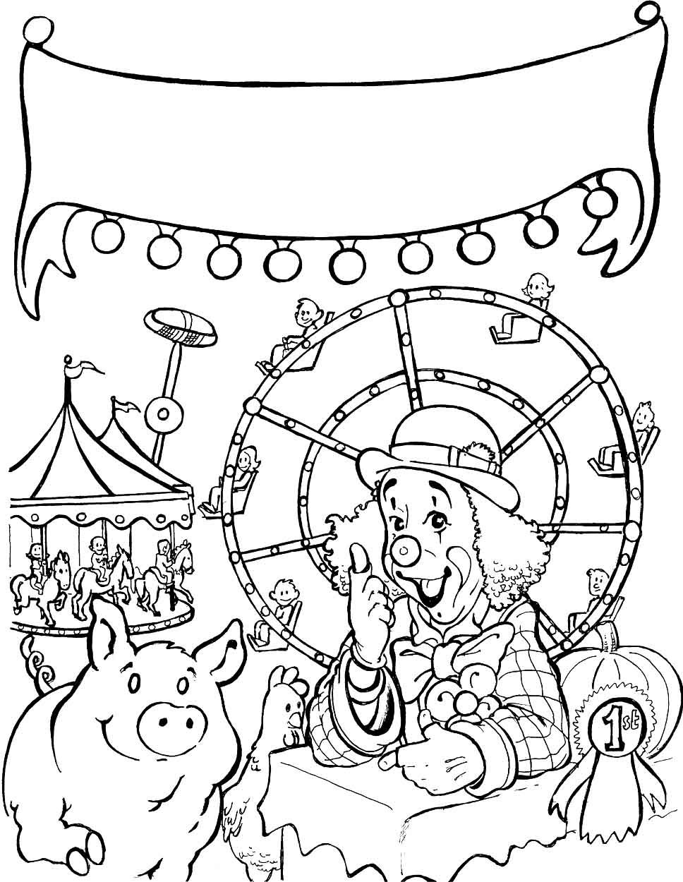Pig At The Fair 968 1250 Coloring Contest Color Coloring Pages