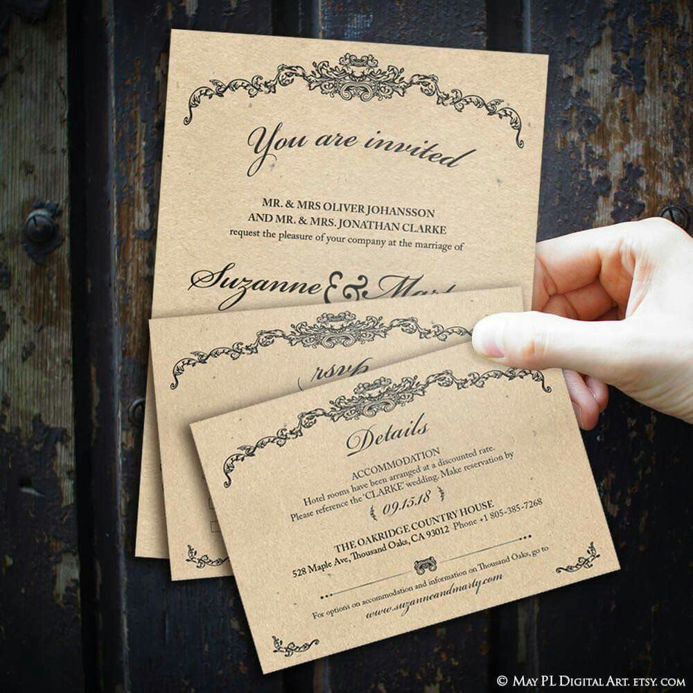 Editable Classic Wedding Invitations RSVP Cards Details Rustic ...
