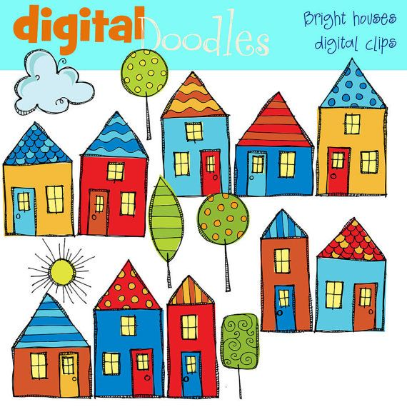 bright neighborhood digital clipart pinterest house rh pinterest com neighborhood clipart black and white neighborhood clip art images