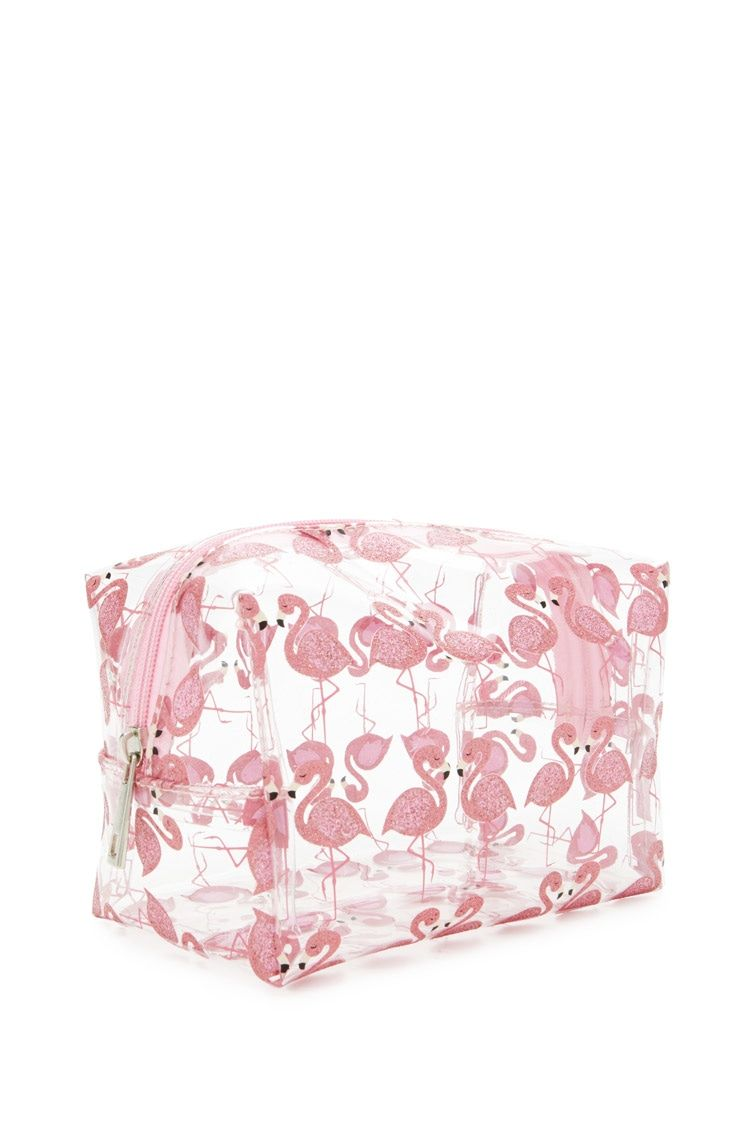 A Clear Plastic Makeup Bag Featuring Glittery Flamingo Print And Top Zipper Closure